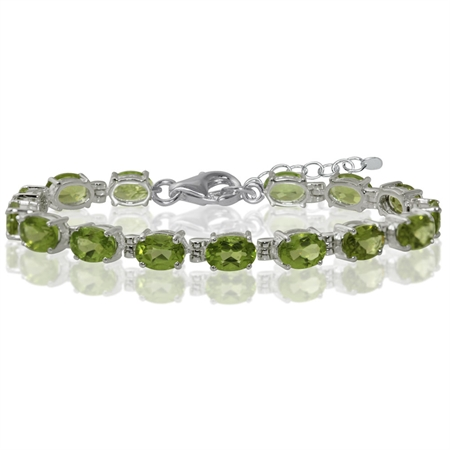 """13.05ct. Natural Peridot White Gold Plated 925 Sterling Silver 6-7.5"""" Adjustable Tennis Bracelet"""