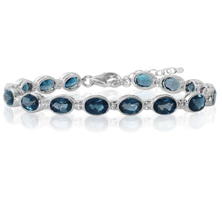 15.04ct. Genuine London Blue Topaz 925 Sterling Silver Bezel Setting 7-8.5 Inch Adj. Tennis Bracelet