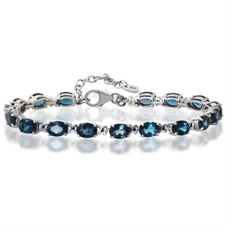 16.32ct Genuine London Blue Topaz 925 Sterling Silver Victorian Style 7.5-9 Inch Adjustable Bracelet