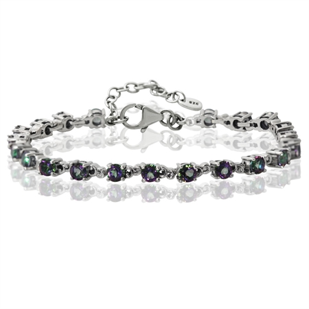 "6.51ct. Mystic Fire Topaz White Gold Plated 925 Sterling Silver Victorian Style 7-8.5"" Adj. Bracelet"