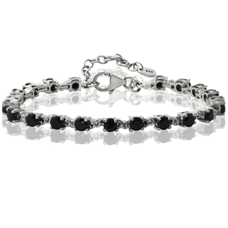 "6.93ct. Natural Black Spinel 925 Sterling Silver Victorian Style 7-8.5"" Adjustable Bracelet"
