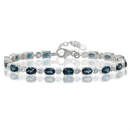 "8.8ct. Genuine London & Blue Topaz 925 Sterling Silver Tennis 7-8.5"" Adjustable Bracelet"