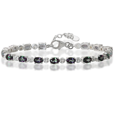 "8.64ct. Mystic Fire & White Topaz 925 Sterling Silver Tennis 7-8.5"" Adjustable Bracelet"