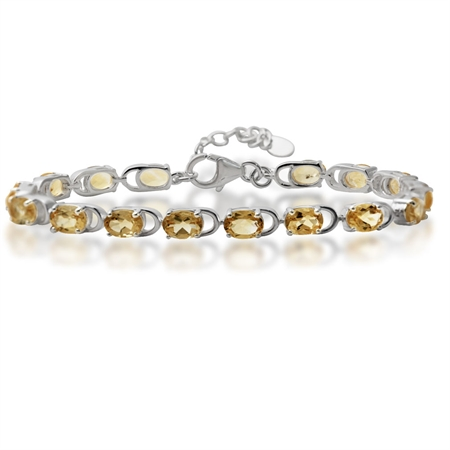 "11.36ct. Natural Citrine 925 Sterling Silver 7-8.5"" Adjustable Bracelet"