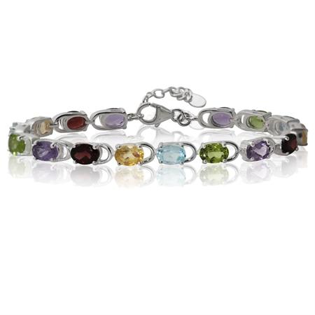 "Amethyst, Garnet, Citrine, Blue Topaz & Peridot 925 Sterling Silver 7-8.5"" Adjustable Bracelet"