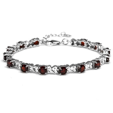 "7.56ct. Natural Garnet 925 Sterling Silver Heart Victorian Style 7-8.5"" Adjustable Bracelet"