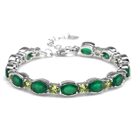 "7.92ct. Natural Green Agate & Peridot White Gold Plated 925 Sterling Silver 6.75-8.25"" Adj. Bracelet"
