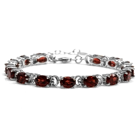 15.75ct. Natural Garnet White Gold Plated 925 Sterling Silver 6.75-8.25 Inch Adjustable Bracelet