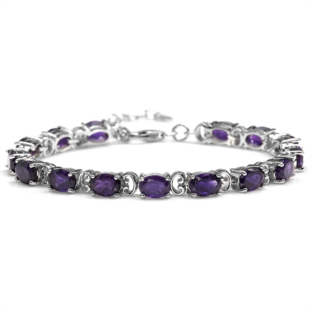 "10.8ct. Natural African Amethyst White Gold Plated 925 Sterling Silver 6.75-8.25"" Adj. Bracelet"