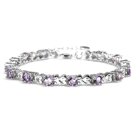 "6.72ct. Natural Amethyst 925 Sterling Silver Heart Victorian Style 7-8.5"" Adjustable Bracelet"