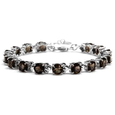 "21.76ct. Natural Smoky Quartz White Gold Plated 925 Sterling Silver 6.5-8"" Adjustable Bracelet"