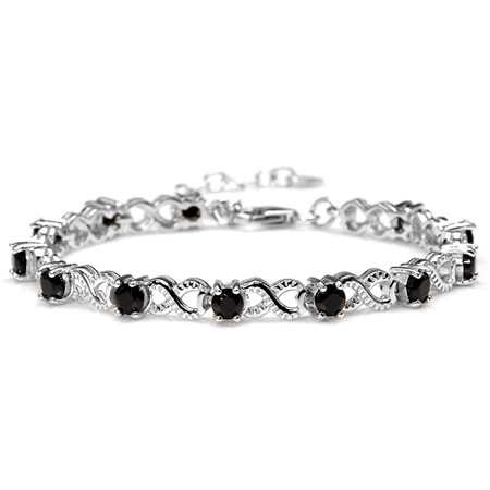 3.96ct. Natural Black Spinel 925 Sterling Silver Infinity Knot 6.5-8 Inch Adjustable Bracelet
