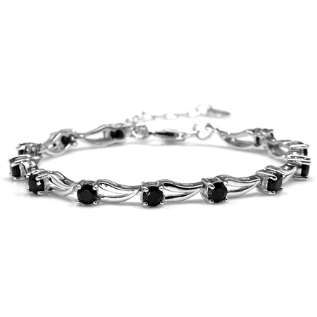 "3.96ct. Natural Black Spinel White Gold Plated 925 Sterling Silver 6.5-8"" Adjustable Modern Bracelet"