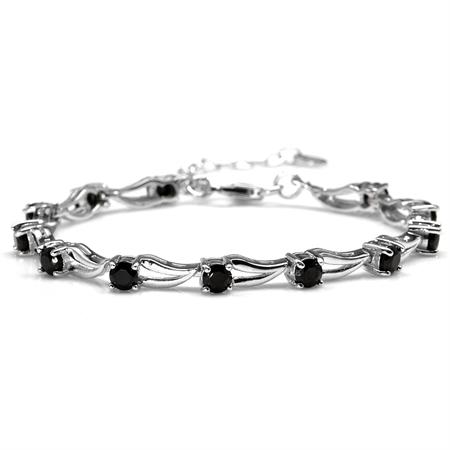 """3.96ct. Natural Black Spinel White Gold Plated 925 Sterling Silver 6.5-8"""" Adjustable Modern Bracelet"""