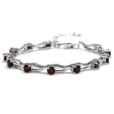 3.96ct. Natural Garnet White Gold Plated 925 Sterling Silver 6.5-7-8 Inch Adjustable Modern Bracelet