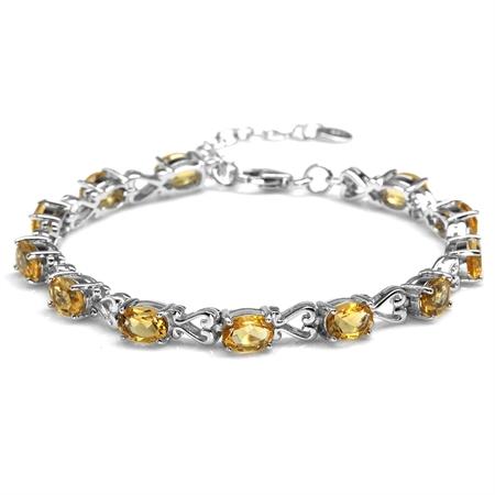 "8.16ct. Natural Citrine 925 Sterling Silver Victorian Heart Style 7-8.5"" Adjustable Bracelet"