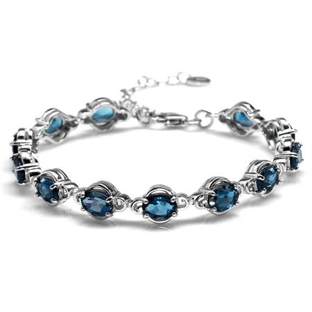 """12.48ct. Genuine London Blue Topaz 925 Sterling Silver 6.5-8"""" Adjustable Tennis Bracelet"""