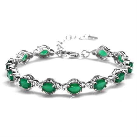 7.92ct. Natural Emerald Green Agate 925 Sterling Silver 6.5-8 Inch Adjustable Tennis Bracelet