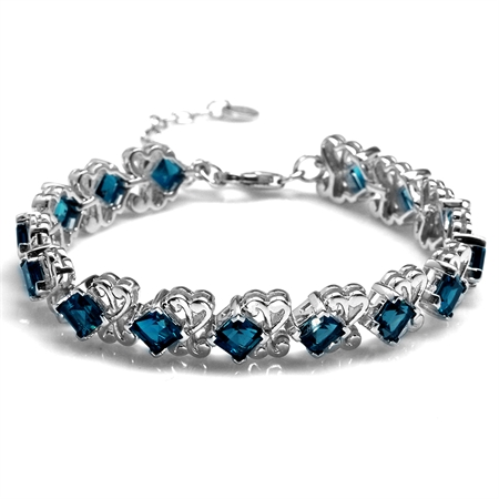 "11.7ct. Genuine London Blue Topaz White Gold Plated 925 Sterling Silver Swirl 6.5-8"" Adj. Bracelet"