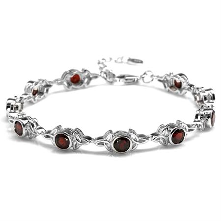 """5.4ct. Natural Garnet 925 Sterling Silver Triquetra Celtic Knot 7-8.5"""" Adjustable Bracelet"""