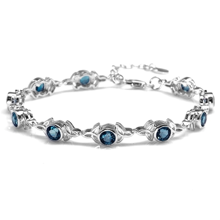 "6.3ct. Genuine London Blue Topaz 925 Sterling Silver Triquetra Celtic Knot 7-8.5"" Adj. Bracelet"