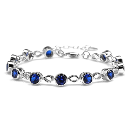 "Synthetic Sapphire Blue White Gold Plated 925 Sterling Silver 6.25-7.75"" Adjustable Tennis Bracelet"