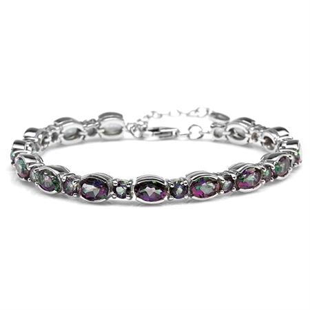 16.66ct. Mystic Fire Topaz 925 Sterling Silver 6.75-8.25 Inch Adjustable Tennis Bracelet