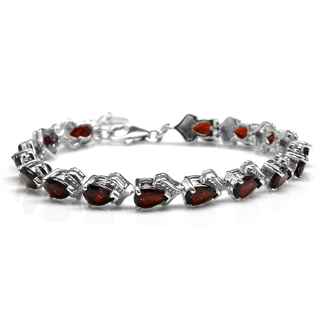 "13.44ct. Natural Garnet White Gold Plated 925 Sterling Silver Balinese 6.75-8.25"" Adj. Bracelet"