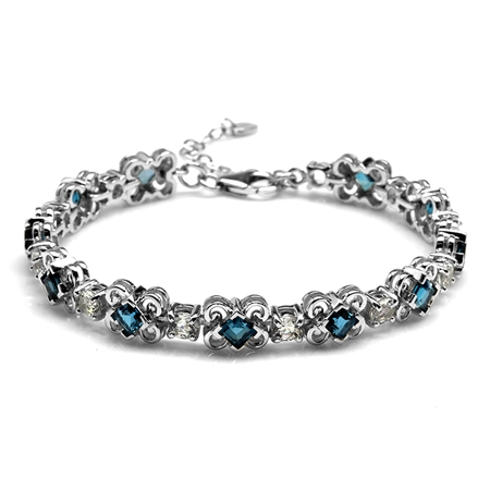 4.73ct. Genuine London Blue Topaz White Gold Plated 925 Sterling Silver Bracelet Adj. 6.75-8.25