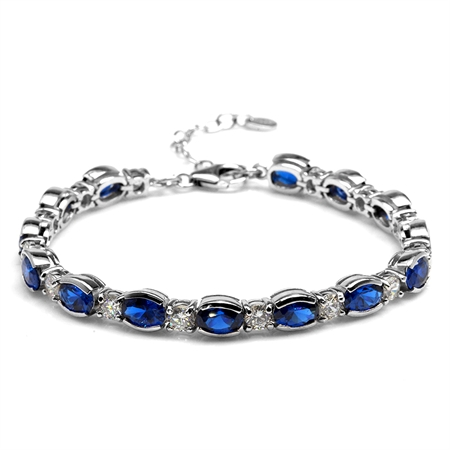 """11.76ct. Synthetic Blue Sapphire White Gold Plated 925 Sterling Silver 6.75-8.25"""" Adj. Bracelet"""