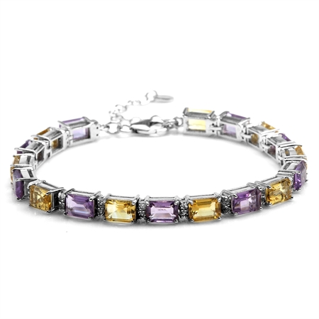 8.37ct. Octagon Citrine & Amethyst Gold Plated 925 Sterling Silver Tennis Bracelet Adj. 7-8.5