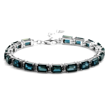 21.96ct. Octagon London Blue Topaz Gold Plated 925 Sterling Silver Tennis Bracelet Adj. 7-8.5