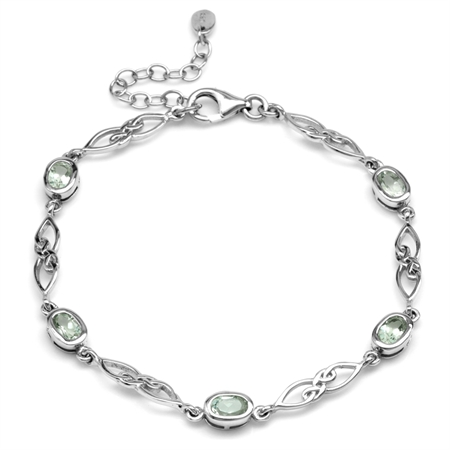"2.05ct. Natural Green Amethyst Gold Plated 925 Sterling Silver Celtic Knot 7.25-8.75"" Adj. Bracelet"