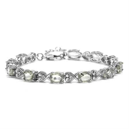 "12.43ct. Natural Green Amethyst 925 Sterling Silver Heart Victorian Style 7.25-8.75"" Adj. Bracelet"