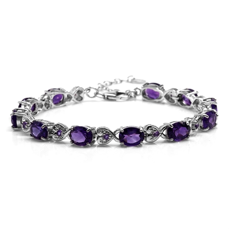 "12.65ct. Natural African Amethyst 925 Sterling Silver Heart Victorian Style 7.25-8.75"" Adj. Bracelet"