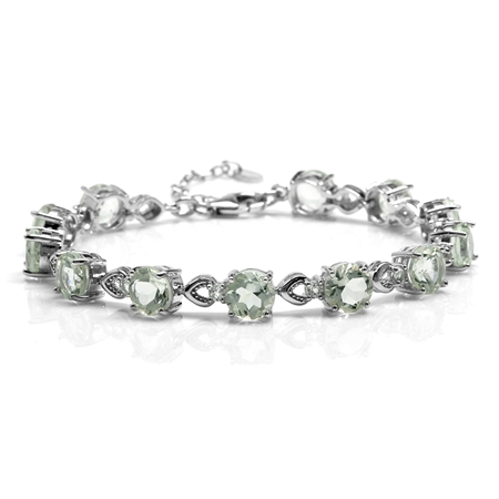 "15.6ct. 7MM Round Natural Green Amethyst & Topaz 925 Sterling Silver 7-8.5"" Adj. Bracelet"