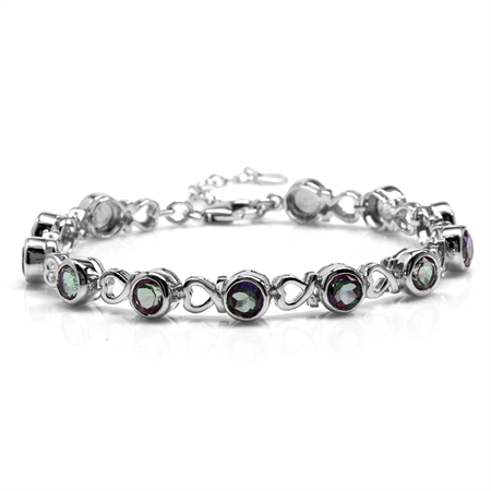"12.48ct. Mystic Fire Topaz White Gold Plated 925 Sterling Silver Heart 7-8.5"" Adjustable Bracelet"