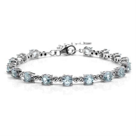 "8.96ct. Genuine Blue Topaz White Gold Plated 925 Sterling Silver Swirl 7.25-8.75"" Adj. Bracelet"