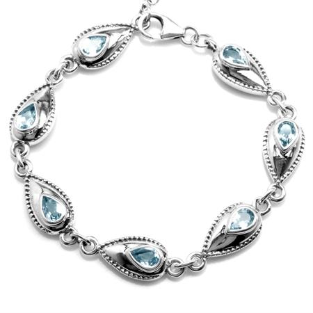 3.29ct. Genuine Blue Topaz 925 Sterling Silver 6.5-8 Inch Adjustable Bracelet