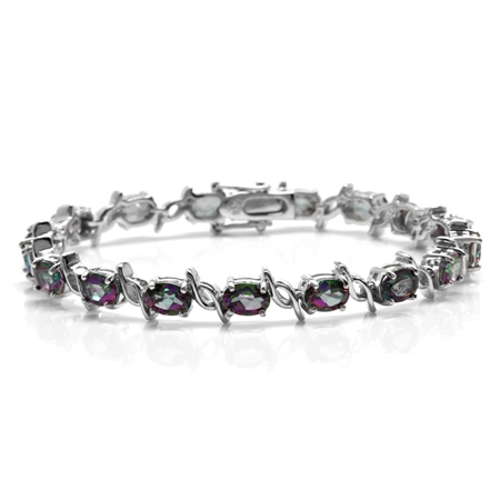 14.79ct. Mystic Fire Topaz White Gold Plated 925 Sterling Silver Tennis Bracelet 7.5 Inch.