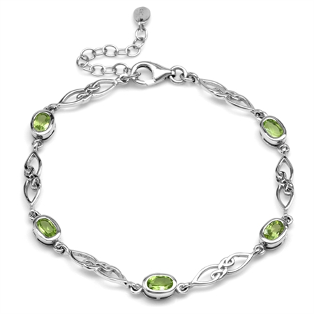 "2.35ct. Natural Peridot White Gold Plated 925 Sterling Silver Celtic Knot 7.25-8.75"" Adj. Bracelet"