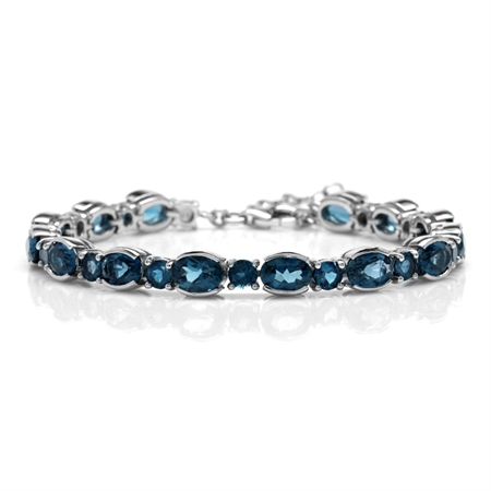 "17.5ct. Genuine London Blue Topaz White Gold Plated 925 Sterling Silver 6.75-8.25"" Adj. Bracelet"