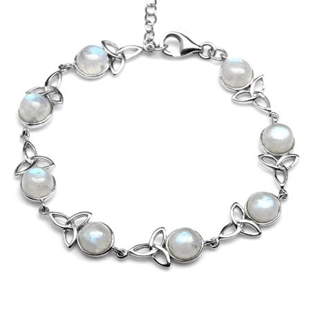 Natural Moonstone 925 Sterling Silver Triquetra Celtic Knot 7-8.5 Inch Adjustable Bracelet