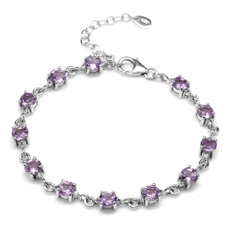 5.76ct Natural Amethyst & White Topaz Gold Plated 925 Sterling Silver 7-8.5 Inch Adjustable Bracelet