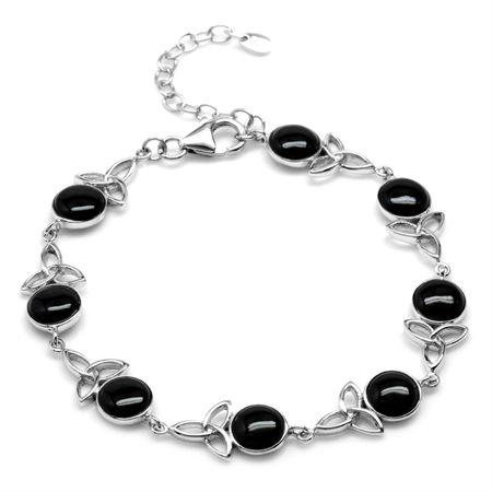 Created Onyx 925 Sterling Silver Triquetra Celtic Knot 7-8.5 Inch Adj. Bracelet