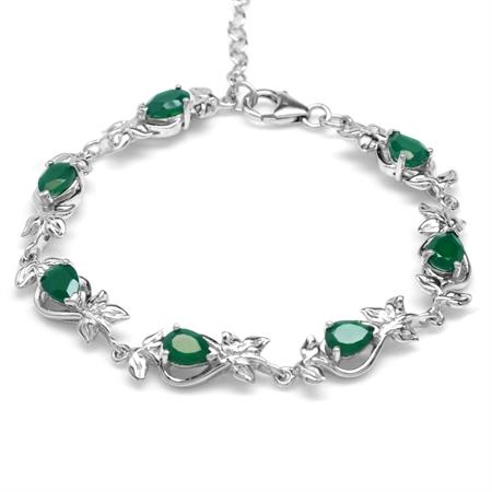 4.48ct. Natural Emerald Green Agate 925 Sterling Silver Leaf 6.75-8.25 Inch Adj. Bracelet