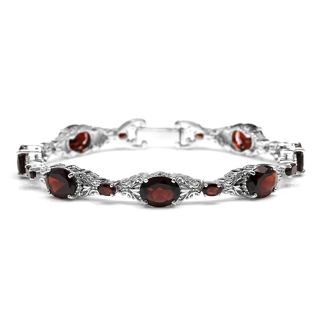 22.15ct. Natural Garnet White Gold Plated 925 Sterling Silver Victorian Style Bracelet
