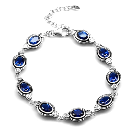 Synthetic Sapphire Blue & White CZ 925 Sterling Silver 7-8.5 Inch Adjustable Bracelet