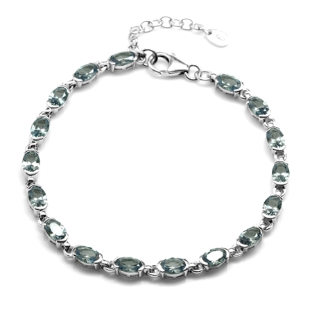 "Simulated Color Change Alexandrite White Gold Plated 925 Sterling Silver Tennis 7-8.5"" Adj. Bracelet"