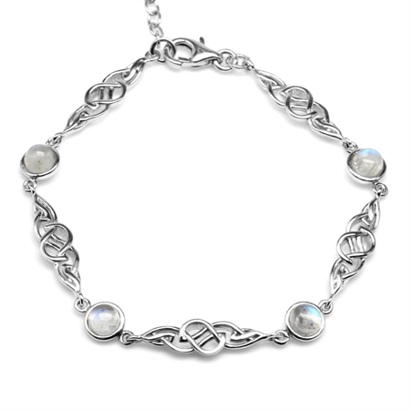 Natural Moonstone 925 Sterling Silver Celtic Knot 7-8.5 Inch Adjustable Bracelet